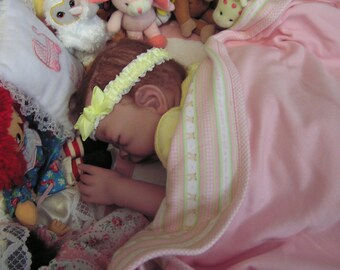 Reborn doll, Girl, Cloth body, Genesis paint , mohair, sleeping,  T. Edenholm, Josey Sculpt