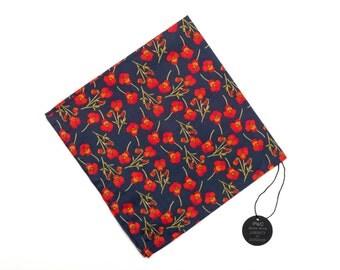 Pomp & Ceremony Pocket Square handkerchief Liberty of London Ros Navy