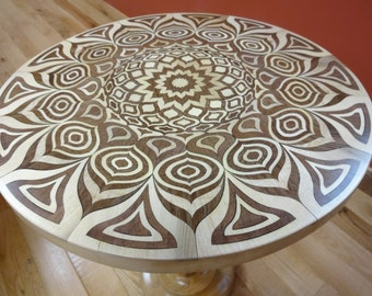 Walnut & Maple Mandala Pedestal Side Table - Sustainable Harvest -  Timber Green Woods