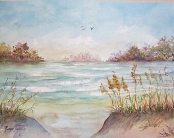 Sea Oats Seascape Original Watercolor 11 x 15 inch Florida artist, Roxanne Tobaison.