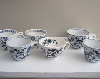 VINTAGE mismatched blue and white tea cups made in England and Japan Blue Danube Onion and Nordic Blue