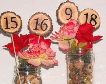 Rustic Table numbers ~ Tall Double Sided Wood Slice Wedding Table Numbers ~ Wood Table Numbers ~ Woodland wedding ~ Party Event Table number