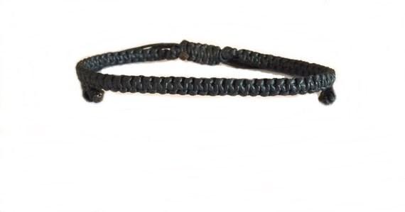 Classic Black Cotton Fair Trade Thai Buddhist Wristband Bracelet Handcrafted Wristwear