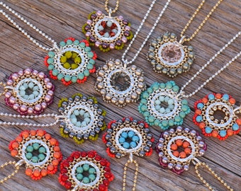 Bloom Necklaces, Colorful Necklace, Flower Pendant, Bridesmaid Necklace