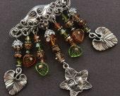 Handmade North Wind, Crystal & Leaf Pin