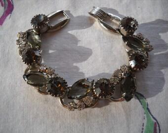 Vintage Juliana Bracelet Smoke Grey Black Diamond Crystal Rhinestones FREE SHIPPING