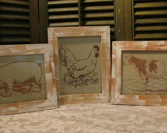 Farm Animal With Chicken Wire Accent - Chose From A Pig - Cow - Chicken - Framed Wood Animal Art