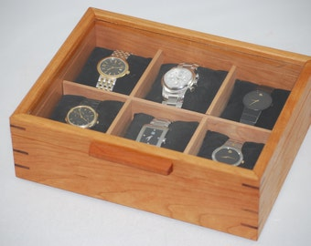 Watch Box with Glass Top, Mens Watch Box-Holds 6