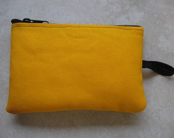 padded zipper pouch in golden yellow duck canvas