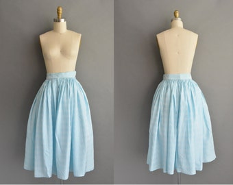 vintage 1950s skirt / 50s ice blue vintage full skirt