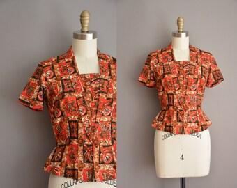 50s cotton batik nipped waist vintage blouse / vintage 1950s blouse