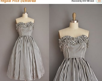 Anniversary SHOP SALE... vintage 1950s inspired dress / strapless striped party dress / 50s dress