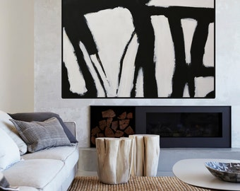 Large Abstract Painting Minimalist Art, Hand Painted Contemporary, Black White Acrylic Painting, Original Black and White Abstract Art Huge