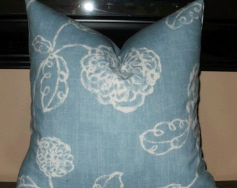 SALE ~ Decorative Pillow Cover: Contemporary Floral Design Size 18 X 18 Pillow Cover in Spa Blue and White