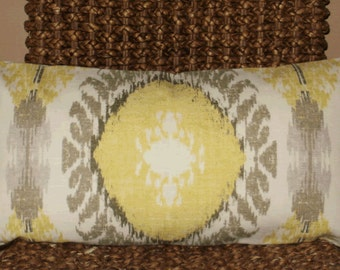 SALE ~ Decorative Pillow Cover: Ikat Design 12 X 24 Accent Throw Lumbar Pillow Cover in Taupe and Yellow Linen