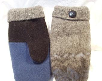 Felted Wool Mittens, Reclaimed Wool Sweaters