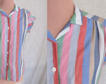 SALE ITEM Soft Colors Stripe Camp Shirt Top, Button Down Blouse, Cuff Sleeves, Vintage 70s