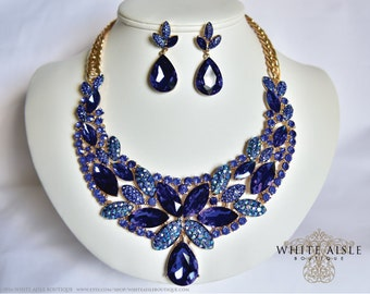 Blue Wedding Jewelry Set, Vintage Inspired Necklace, Crystal Bridal Jewelry Set, Drop Necklace, Drop Earrings, Statement Necklace, Chunky