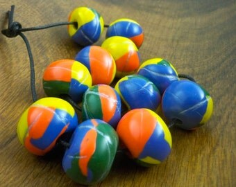 Large colorful beads handmade clay color block patterns