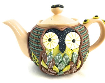 Owl teapot polymer clay art collectible for home