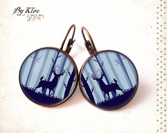 Earrings sleepers Cabochons • The Deer • nature pearl blue pompombrass glass
