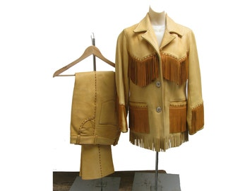 Vintage Womens Fringed Leather Cowboy Jacket and  Pants Made by Hays Leather Genuine Deer or Elk  Delta Colorado