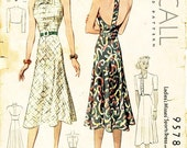 Vintage 1930s Dress Pattern - McCall 9578 - Misses' Backless Halter Sports Dress with Jacket and Head Scarf - SZ 16/Bust 34
