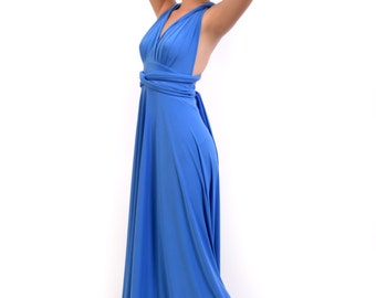 Ready to ship Convertible/Infinity Dress - floor length with long straps in middle blue color wrap dress