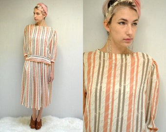 80s Blouse and Skirt Set  //  Striped Chiffon Blouse and Skirt  //  THE CONSTANCE
