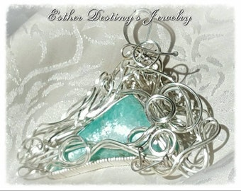 Amazonite Sterling Silver Wire Wrapped Pendant