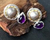 Sterling silver handmade amethyst earrings with 24ct gold leaf, hallmarked in Edinburgh.