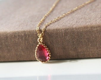 Ruby Necklace,Gold Necklace,Ruby Pendant,Layering Necklace,Gold Necklace,Delicate Necklace,Gift for Her,Minimal Necklace,Bridesmaid Gift