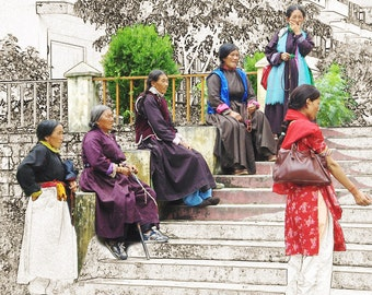 Photograph from India ~ Travel photo digital art ~ Digital download print of photography of Tibetan Women