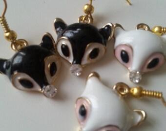 Enamel fox, fox, fox earrings, choose black or white, rhine stone, by NewellsJewels on etsy