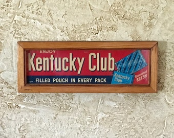 Vintage Kentucky Club Cardboard Display Tobacco Sign / Framed / Old Store Advertising Sign / Recycled Barn Wood