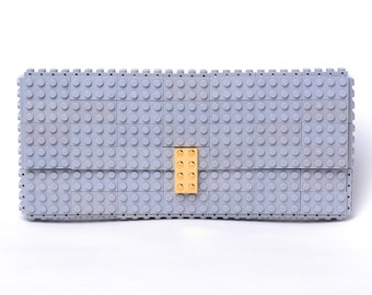 LIght grey clutch purse with real gold plated elements made with LEGO® bricks FREE SHIPPING purse handbag legobag trending fashion