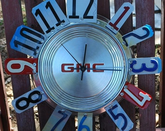 GMC Hubcap Clock, GMC Truck. License Plate Garage Clock, Man Cave,Garage,Man,Boy,Dad,Grandpa,GMC Fan,Car Themed Room,Classic Cars