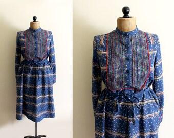 vintage dress 1970's blue confetti print womens clothing striped retro size m medium