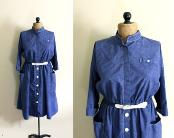 vintage dress 70s blue white shirt contrast retro 1970s womens clothing size large l