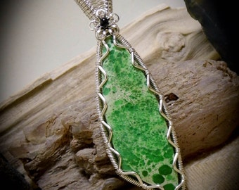 Green Utah Veriscite Wire Wrapped Stone Gemstone Necklace Pendant