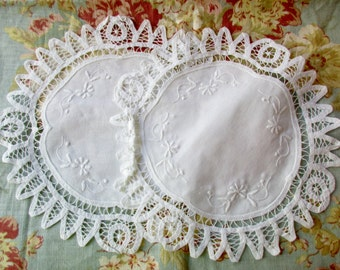 "2 white cotton round doilies- 11"", unused, lace, battenburg, embroidery"