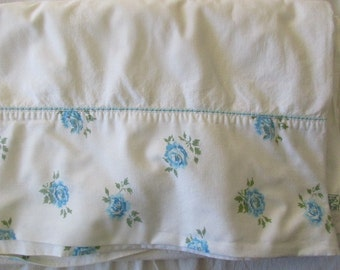 vintage blue floral full flat SHEET- aqua roses, Cannon, cotton, muslin, double