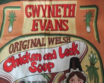 vintage cotton Souvenir  DISH TOWEL - Welsh, recipes, unused, UK