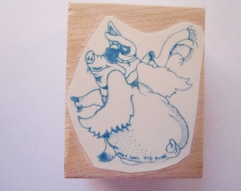 vintage rubber stamp - way cool PIG DUDE - winged pig with goggles and scarf