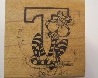 vintage rubber stamp - T is for TIGER - circa 1980s