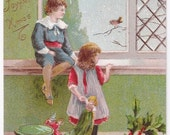 Let It Snow - Antique Postcard - Christmas, Christmas Postcards, Children, Birds, Toys, Presents, Gifts, Snow, Paper, Ephemera