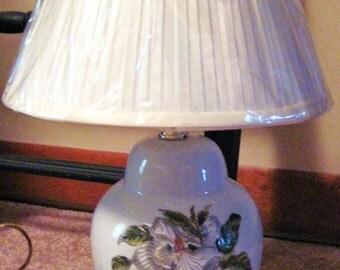 Magnolia Lamp with wood base, shade-SAle