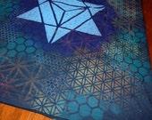 L Merkaba Sacred Geometry Tank Top w/ Star Tetrahedron & Chakras on Back Handpainted Mandala w/ Flower of Life, Honeycomb, Fractal Hexagons