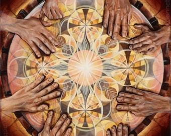 Earth Rhythm. Visionary Art by Annie Kyla Bee. Canvas & Paper Prints. Drumming Mandala with Cymatic Vibrations, world Rhythm