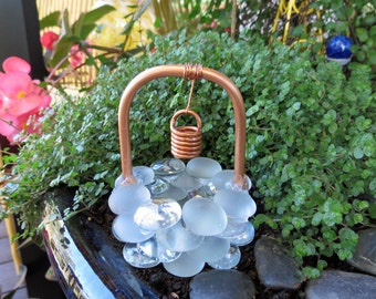 "Fairy Garden Accessories, Wishing Well, ""Crystal Frost"" Glass Drops, Copper & Glass Wishing Well, Outdoor Fairy Garden"